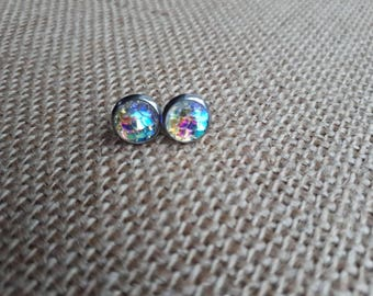 Clear iridescent mermaid scale earrings 8mm