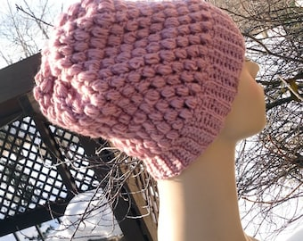 Crochet wool blend womens rose pink slouchy beanie  FREE SHIPPING