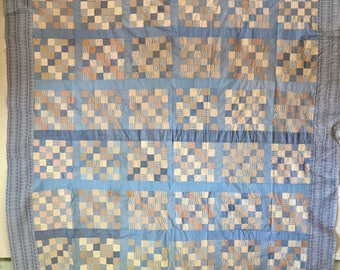 Wonky vintage quilt top, hand pieced, shirtings, feedsack