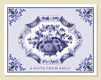 Charming Delftware Note Cards - Personalized (10 Folded)