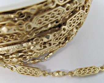 2 Ft Matte Gold-Plated Tribal Ethnic Hexagon Link Chain Ch286
