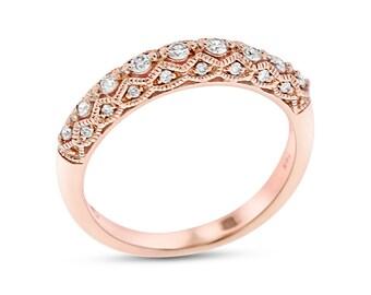 0.27 CT Natural Diamond Filigree Special Design Band Ring, Solid 14k Rose Gold