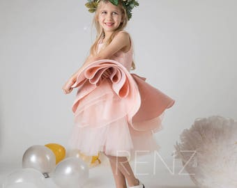 Flower Girl Dress Peach Lace Dress,Round Neck Pageant Dress,Lace Bow Puffy Dress,Sleeveless Girl Party Dress,Junior Bridesmaid Dress(LK301)