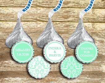 Hershey Kisses Stickers - Mint Wedding Kisses, Mint Green Wedding, wedding stickers, Personalized Wedding, Kisses Wedding Favor