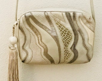 Sharif White and Silver Metallics Cross Body Handbag Purse