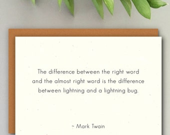 MARK TWAIN (Lightning) Literary Quote Card // Premium 100% Recycled Paper // Vintage Stationery, Greeting Card, Small Wall Art
