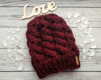 Slouchy Cable Knit Hat, Women's Pumpkin Knit Hat, Heavy Winter Hat, Braided Knit Beanie, Wool Blend Winter Toque, Colorful Crochet Hat