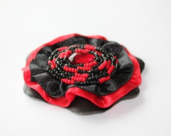 Fabric brooch with beads. Red Black Royal Blue brooch. Round brooch with satin ribbon. Elegant jewerly. Valentine day gift