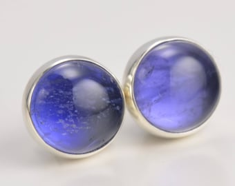 iolite 7mm sterling silver stud earrings