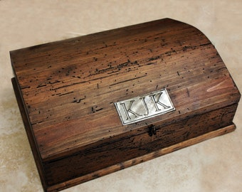 Personalized Rustic Jewelry Box with removable tray and secret compartment.