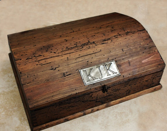 Personalized Rustic Jewelry Box with removable tray and secret