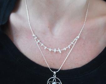 Pentagram with Genuine Moonstone Necklace, Moonstone Chip Floating Strand