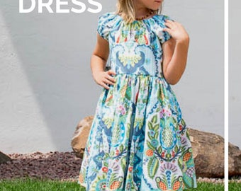 Girl Peasant Dress PDF Sewing Pattern, The Fjell Dress Sized 2y to 12y