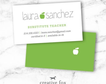 Teacher or substitute business card applelicious tutor substitute business card applelicious apple printable colourmoves