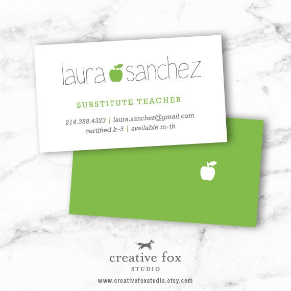 Substitute business card applelicious apple printable reheart Choice Image