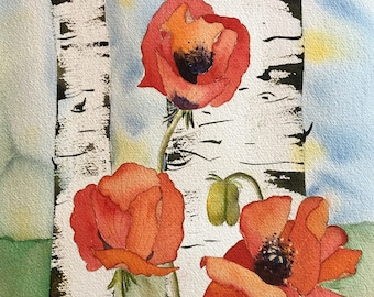 Red Poppy Painting Red Poppy Wall Art Red Poppy Flowers Original Watercolor Painting  Aspen Tree Art Aspen Colorado Art Aspen Painting