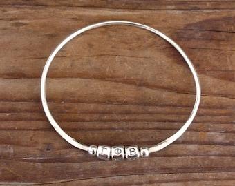 Gamma Phi Beta Bracelet, Sterling Silver Bangle Bracelet - Big Sis Little Sis Gift, Greek Letter Jewelry, Sorority Jewelry, Sorority Gift