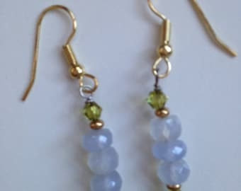 Chalcedony and Crystal Earrings