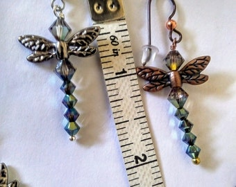 Swarovski Dragonfly Earrings; dragonfly earrings; beaded crystal dragonfly earrings; dragonfly beaded crystal earrings; swarovski earrings