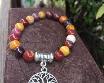 Mookaite beaded bracelet with tree of life- - Made to Order-Origin from Australia -Hand made/designed by me-FREE Gift with every purchase