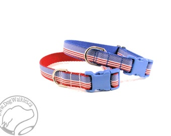 """Forth of July Stripes - 3/4"""" (19mm) Wide - Quick Release or Martingale Dog Collars - Choice of color, size and style"""