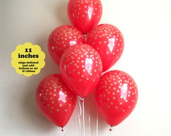 "Red with Gold Confetti Latex Balloons - 6 pack 11"" Latex - Bridal Shower Wedding Red Gold Party Decorations Graduation Red Balloons Baby"