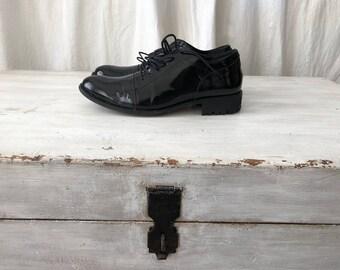 41/ 10 US Yohji Yamamoto / women black patent leather oxford lace up shoes