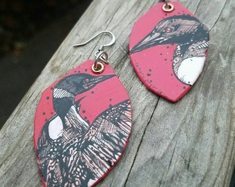LOON earrings - Hand-Painted bird earrings Portland Oregon
