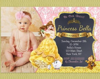 Beauty and the Beast Invitation - Princess Belle Party Invitation - Beauty and the Beast Birthday Invite