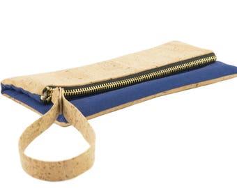 CERRIS Cork Clutch Blue nature//bag//Cork vegan leather//Organic canvas gots//bag Utensilio organizer Ulsto