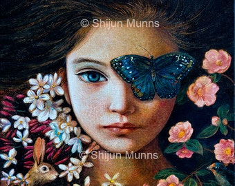 Blue Butterfly girl, art print, blue giclee print on paper or canvas by Shijun Munns-Art gift-Fantasy wall art-Oil painting print