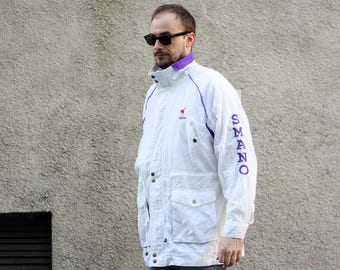 Vintage SMANO long jacket / Mens Womens Parka / Outdoor Rain Italian Jacket / White Purple / 80s size Large XLarge