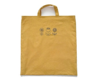 Hand Stitched Flowers Tote Bag (Mustard)