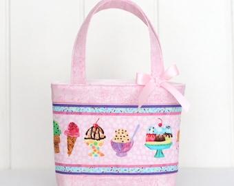 Mini Tote Bag / Girls Bag / Kids Bag / Girls Purse - Pink Ice Cream with Purple Stripe
