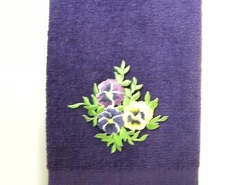 Pansy fingertip hand towel purple vintage applique pansies flowers spring