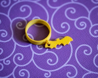 Bat Silhouette Charm Ring