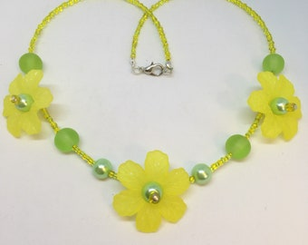 Lime green and Yellow flower necklace Large Flower Handmade Necklace-Gifts for women-Gifts for her-Ladies Jewellery-Ladies Floral gifts