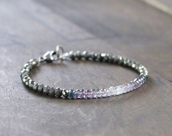 Beaded Pyrite & Ombre Purple Spinel Bracelet, Sterling Silver or Gold Filled, Dark Gold Purple Gemstone Bracelet, Natural Spinel Jewelry