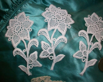 1 floral vintage lace applique of venise lace white