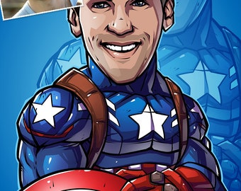 Be The Hero: Captain America, 11x17 --- custom art, cartoon, superhero portrait, gift for him, poster, illustration, comic, caricature, dad