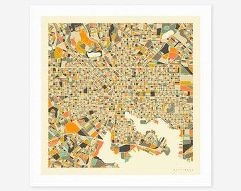 BALTIMORE MAP (Giclée Fine Art Print/Photo Print/Poster Print) by Jazzberry Blue (ivory version)