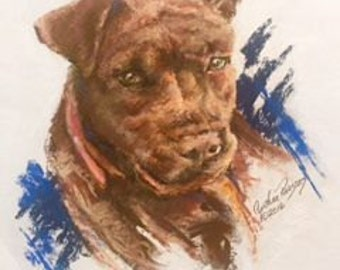 Sample Pastel Pet Portrait of Ruby - a Rescue Dog by Cynthia Parsons.  I'd love to paint for You!