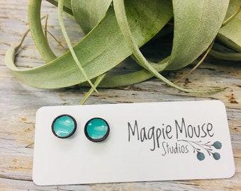 Blue Seafoam Enamel Post Earrings ~ Minimalist Blue  Earrings -Post Earrings