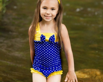 One Piece Swimsuit - Blue Swimsuit - Girls Swimsuit - Bathing Suit - Dance Costume - Toddler Girls Swimsuit - Baby Swimsuit - Swim Suit Girl
