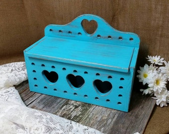 Wooden Box, Turquoise Wood Box, RobinsStudio, Heart Box, Recycled Box, Vintage Box, Shabby Chic Box, Rustic Box, Cottage Box, Country Box