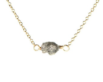 Diamond necklace - raw diamond necklace - tiny diamond necklace - A natural diamond wire wrapped onto 14k gold filled or silver chain