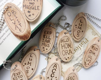 Magical Spell Wood Keychains - Harry Potter Keychains for Bridesmaid Gift Couples Keychain Wood Keychains Harry Potter Wedding Favors