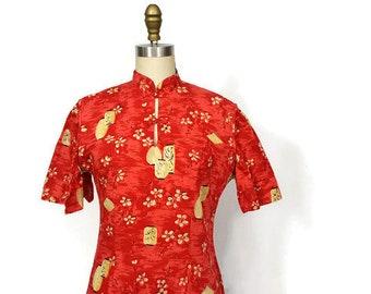 Vintage Kamehameha Tea Timer / Vintage Hawaiian Pink Dress with Novelty Lantern Print