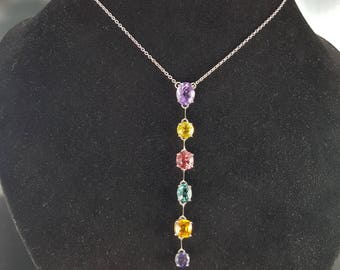Necklace color sapphires