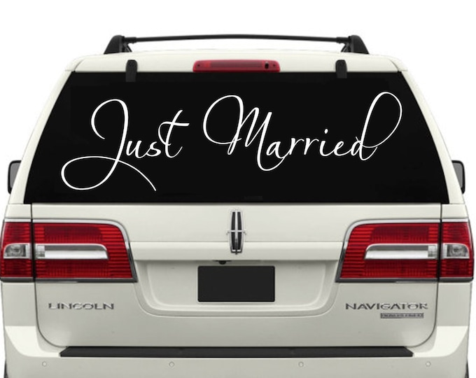 Just Married Car Window Decal #8 - Just Married Decals- Just Married Car Decals- Just Married Car Window Decals